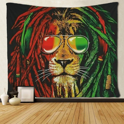 Rasta Lion Tapestry Hippie Wall Art - AVM