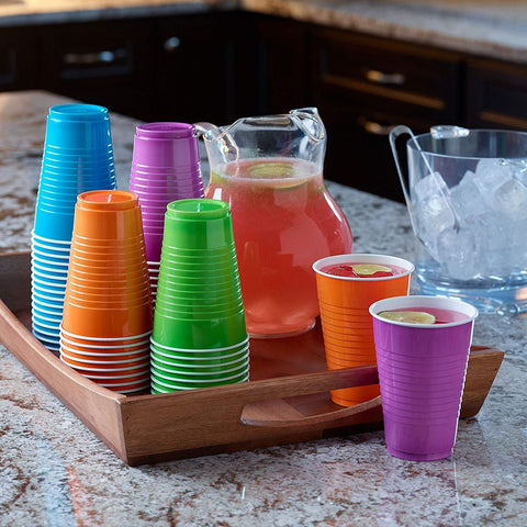 Image of Disposable Plastic Cups in Assorted Colors - AVM
