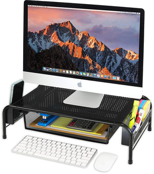 Metal Desk Monitor Stand Riser with Organizer Drawer - AVM