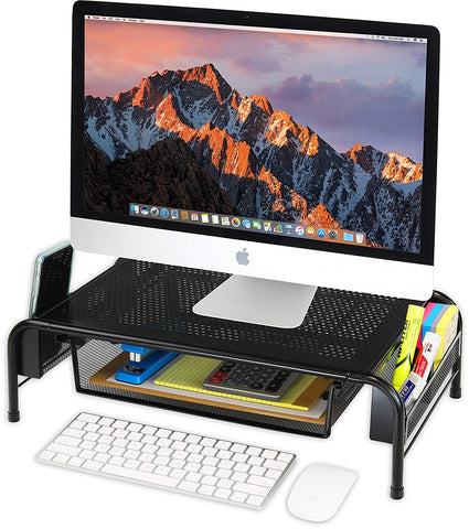 Image of Metal Desk Monitor Stand Riser with Organizer Drawer