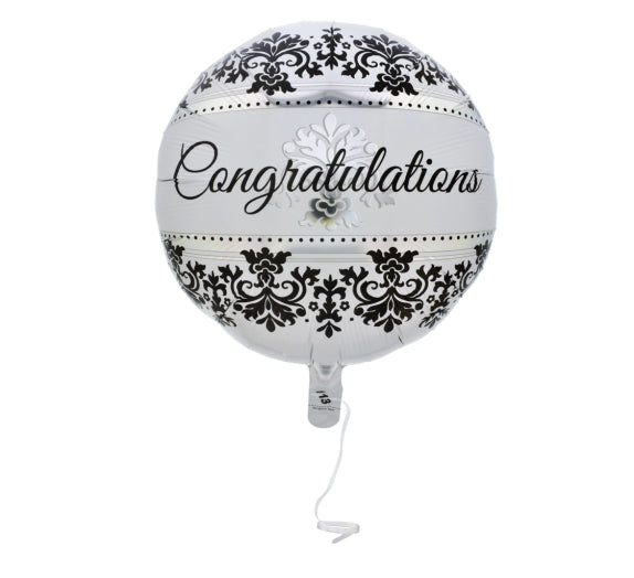 """Congratulations"" Damask Foil Balloons, Set Of 3 - AVM"