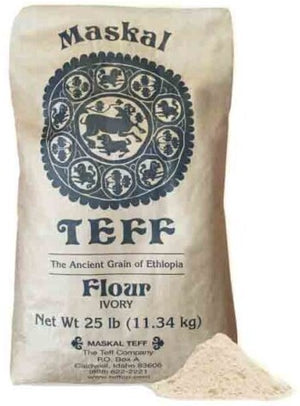 Maskal Ivory Teff Flour, 25 Lb bag, Ancient Grain Superfood and Good source of protein (መስቀል ነጭ ጤፍ) - AVM