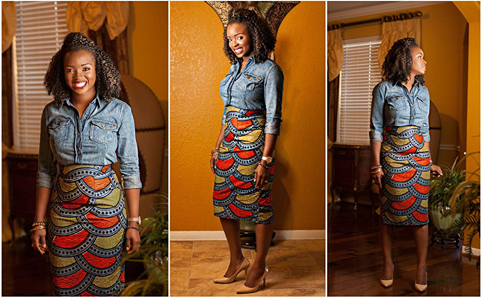 Women's Afrikan Art Inspired High Waist Vintage Printed Midi Skirt - AVM