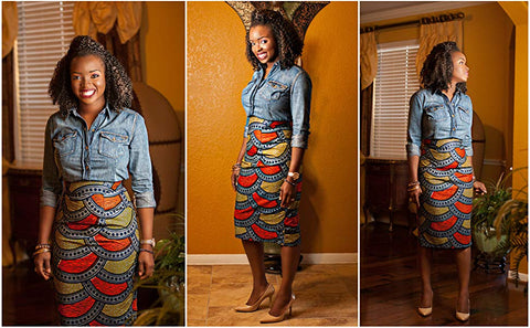 Image of Women's Afrikan Art Inspired High Waist Vintage Printed Midi Skirt - AVM