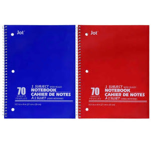 70-Sheet Wide-Ruled Spiral Single-Subject Notebooks, 3 pack - AVM