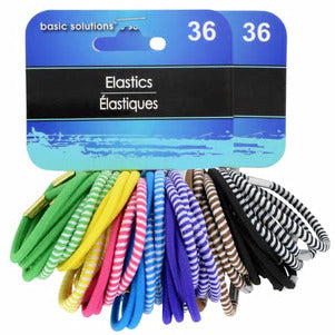 Image of Solid and Striped Hair Elastics- 36 Count - AVM