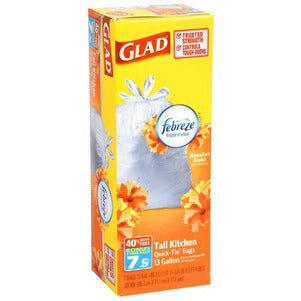 DT97- Glad 13-Gallon Tall Kitchen Trash Bags with Febreze