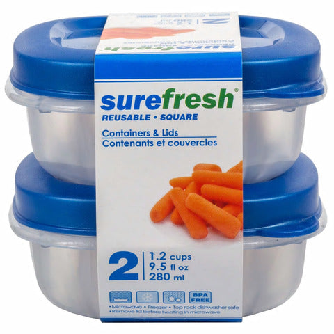 Image of Sure Fresh Rectangular Storage Containers with Blue and Green Lids - AVM