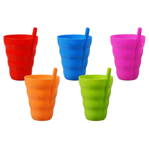 Colorful Plastic Tumblers with Built-In Straws- 4 count - AVM