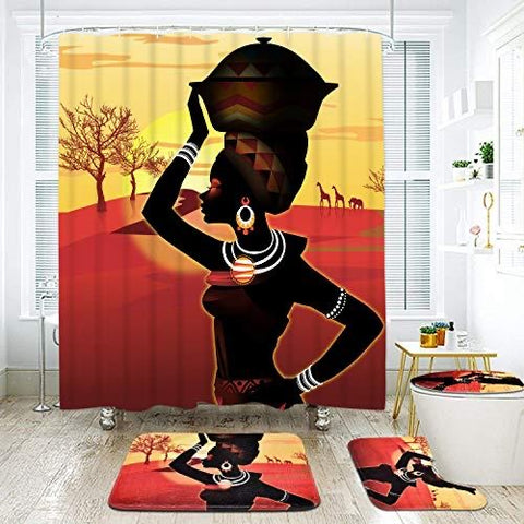 4 Piece Afro Girl Shower Curtain Sets - AVM