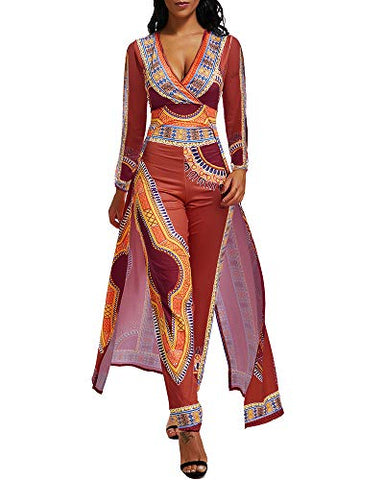 Women Elegant Long Sleeve Party One Piece Jumpsuit Pants Suit with Skirt Overlay - AVM