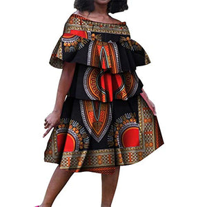 Afrikan Dashiki Print Bright Multi-Layer Folds Cake Dress