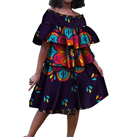 Afrikan Dashiki Print Bright Multi-Layer Folds Cake Dress - AVM