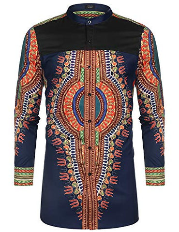 Men's Afrikan Dashiki Print Shirt - AVM