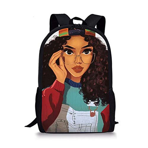 Backpacks Afrikan Girls Hairstyle Printed - AVM