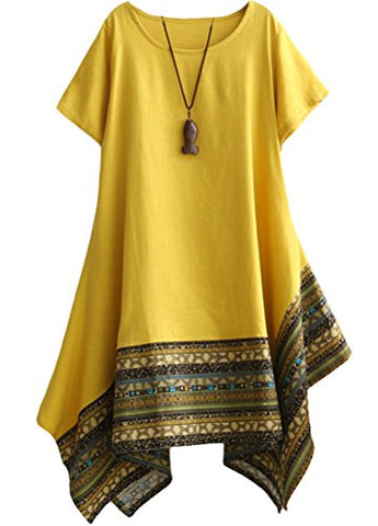 Image of Women's Ethnic Cotton Linen Short/Long Sleeves Dress - AVM