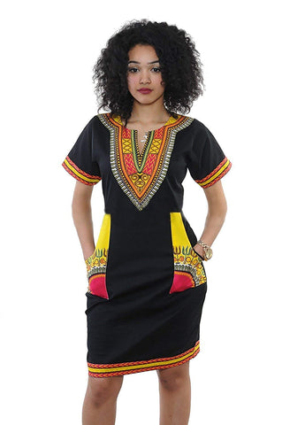 Afrikan Vintage Printed Ethnic Style Summer Dress - AVM