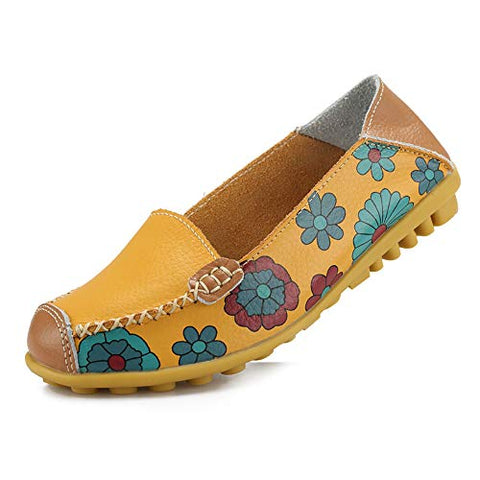 Women's Comfortable Leather Floral Print Flats Walking Shoes for Women - AVM
