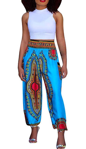Image of Women's Afrikan Dashiki Floral Casual Loose Baggy Pants - AVM