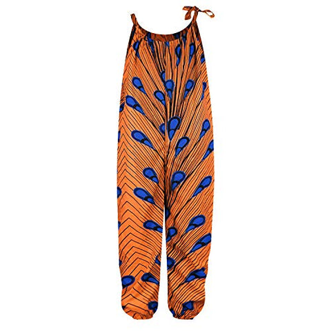 Image of Afrikan Boho Print Jumsuits Bohemian Outfits with Adjustable Shoulder Strap for Little Kids - AVM