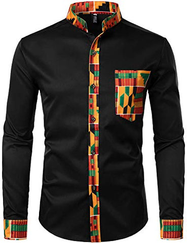 Image of Men's Hipster Afrikan Tribal Graphic Patchwork Design Shirts - AVM