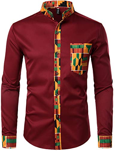 Men's Hipster Afrikan Tribal Graphic Patchwork Design Shirts - AVM