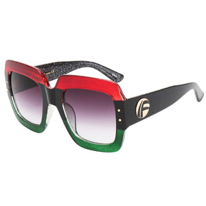 Red-Blue-Green Oversized Square Sunglasses - AVM