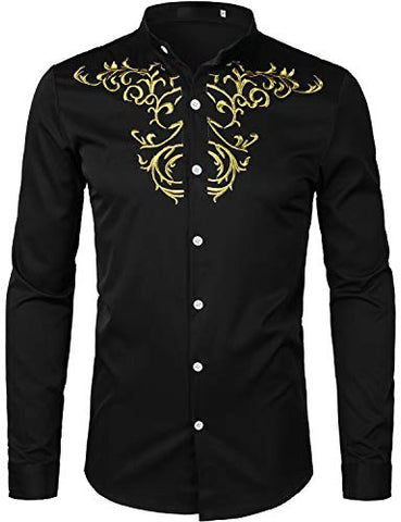 Image of Men's Luxury Gold Embroidery Design Shirts - AVM