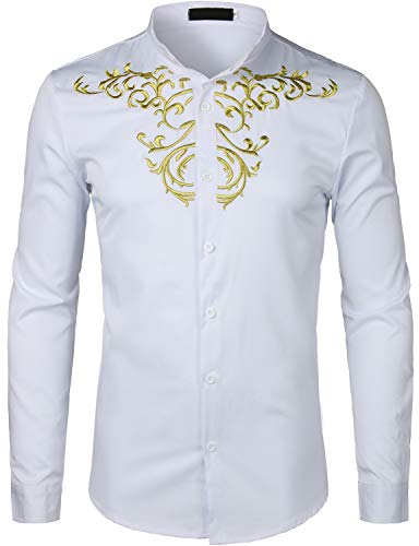 Men's Luxury Gold Embroidery Design Shirts - AVM