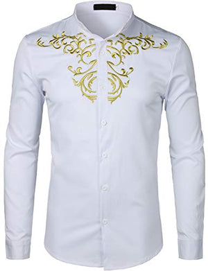 Men's Luxury Gold Embroidery Design Shirts
