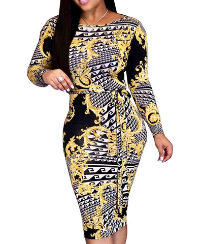 Image of Women's Sexy V-Neck Floral Juniors Midi Dresses Casual Bodycon Club Outfits - AVM