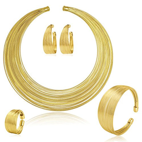 Gold Plated Afrikan Multiple Strands Choker Women Necklace and Earrings Jewelry Set - AVM