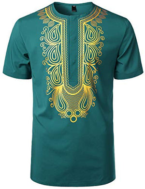 Men's Afrikan Traditional Hidden Button Short Sleeve Shirt - AVM