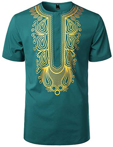 Image of Men's Afrikan Traditional Hidden Button Short Sleeve Shirt - AVM