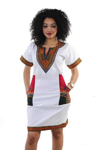 Image of Afrikan Vintage Printed Ethnic Style Summer Dress - AVM