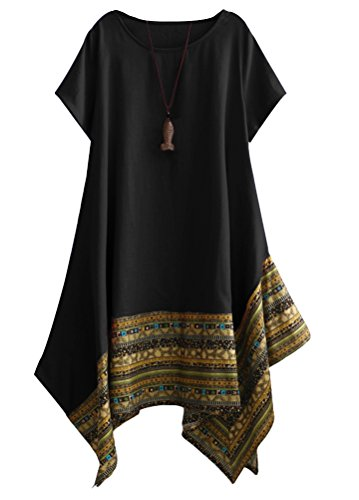 Women's Ethnic Cotton Linen Short/Long Sleeves Dress - AVM