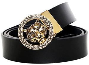 Men's Luxury Gold/Silver Tiger Leather Belt