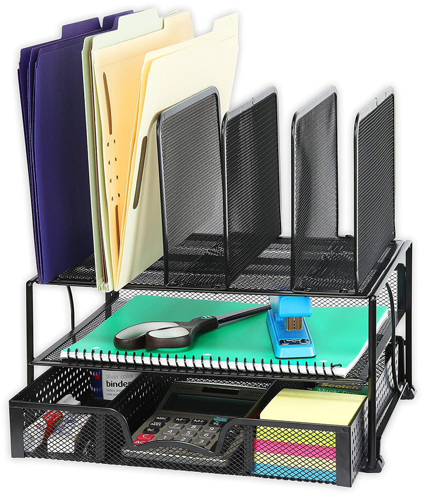 Desk Organizer with Sliding Drawer, Double Tray and 5 Upright Sections - AVM
