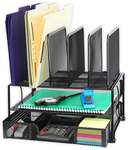 Image of Desk Organizer with Sliding Drawer, Double Tray and 5 Upright Sections - AVM