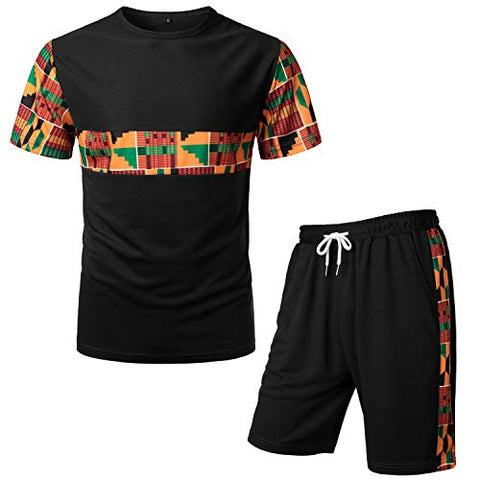 Men's Afrikan Pattern Printed T-Shirt and Shorts Set - AVM
