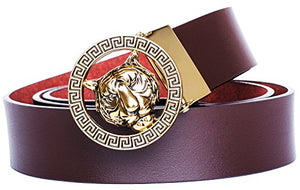 Men's Luxury Gold/Silver Tiger Leather Belt - AVM