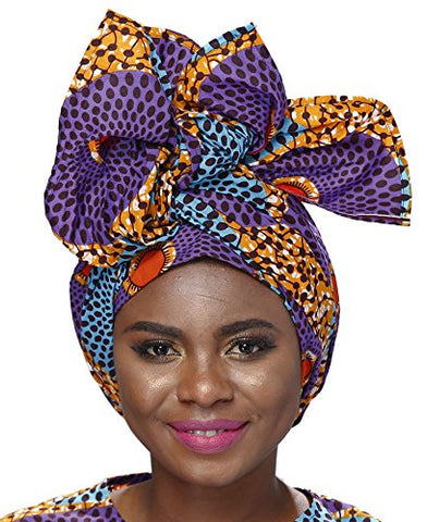 Afrikan Traditional Wax Print Head wrap Headwrap Scarf Tie - AVM