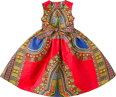Image of Girls Dashiki Print Dress Afrikan Tradition Dresses - AVM