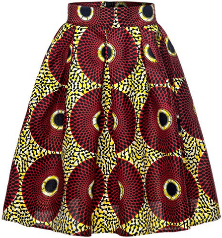 Image of Afrikan Women Traditional Costume Flower Print Casual Dashiki Skirt - AVM