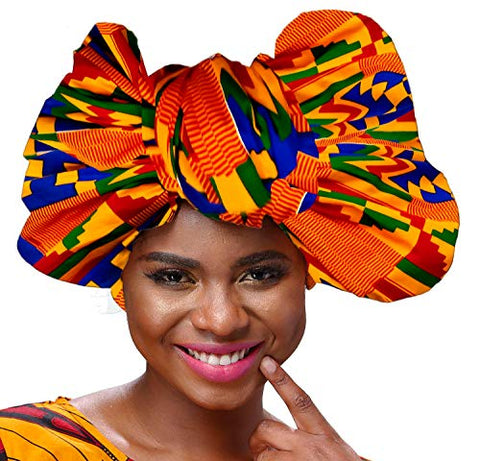 Image of Afrikan Traditional Wax Print Head wrap Headwrap Scarf Tie - AVM