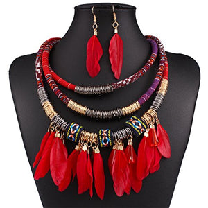 Multi Layers Tribal Bib Necklace, Earring Jewelry Set