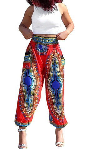 Women's Afrikan Dashiki Floral Casual Loose Baggy Pants - AVM