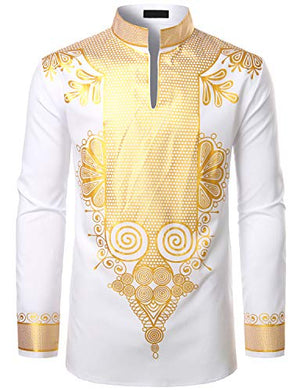 Men's Afrikan Dashiki Luxury Metallic Gold Printed Mandarin Collar Shirt - AVM