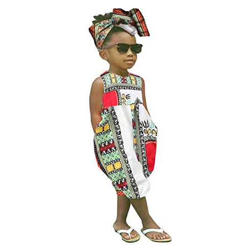 Image of Baby Girls Afrikan Dashiki Print One-Piece Rompers Jumpsuit Headband Toddler Outfit - AVM