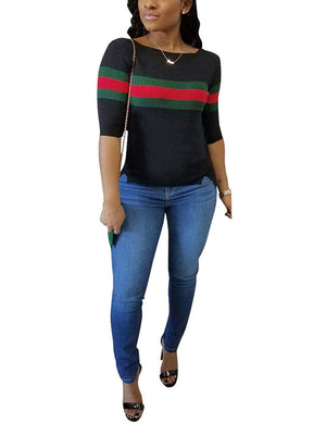 Women's Ribbed Ribbon Stripe Patchwork Half Sleeve T-Shirt